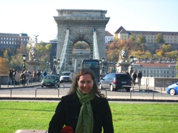 At the Chain Bridge in Budapest, Hungary