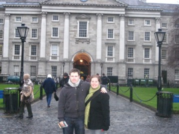 With her Northern Ireland penpal, Connor, at Trinity College, Dublin, Ireland